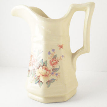 White ceramic porcelain pitcher with peach flowers - Floral ceramic water pitcher water jug - Shabby chic or cottage chic decor