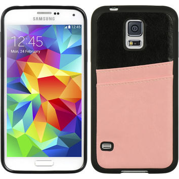 DW Hybrid Leather Dual Card Insert Case for Galaxy S5 - Black/Pink