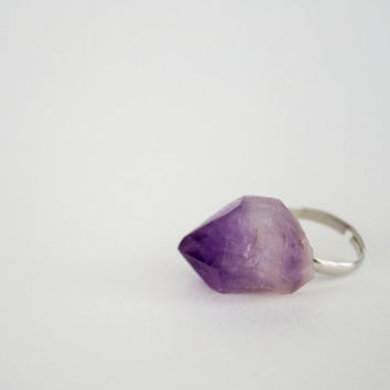 Large Raw Amethyst Nugget Ring