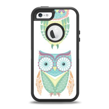 The Crazy Cartoon Owls Apple iPhone 5-5s Otterbox Defender Case Skin Set