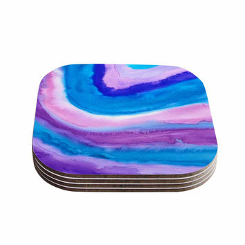 "Viviana Gonzalez ""Agate Inspired Watercolor Abstract"" Blue Purple Watercolor Coasters (Set of 4)"