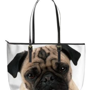 Pug Leather Tote Bag 1