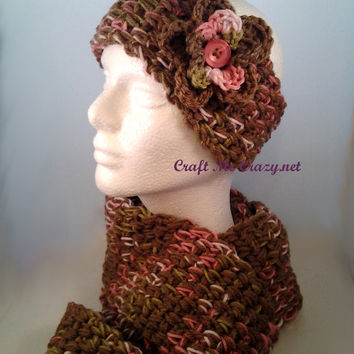 SALE Twice as Nice-Light  Brown/Pink Camo- Crochet Headband and Scarf Set- Ready To Ship