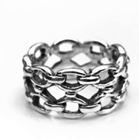 Chain Ring, Sterling Silver Ring, Biker Ring, Gifts for Her,  Gifts for Him, Sterling Motorcycle Ring