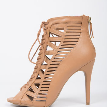 Laser Cut Lace-Up Heels