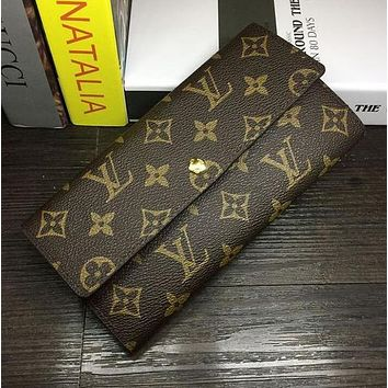 Louis Vuitton LV Buckle Plaid Women Leather Purse Wallet