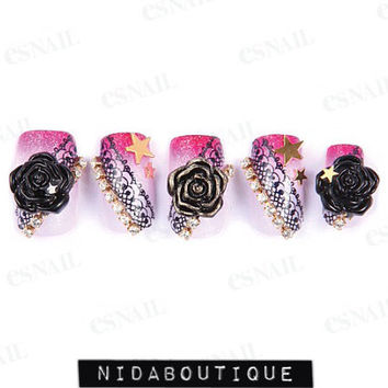 Devil Black Rose &  Lace False nails set