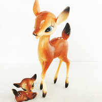 Vintage Pair of Plastic Big Eye White Tail Deer Made In Japan Retro Kitsch Deer Nursery Decor