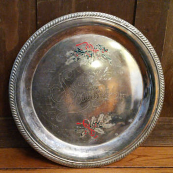 Vintage Seasons Greetings International Silver Silver Plated Round Tray With Holly Rustic Christmas Decor