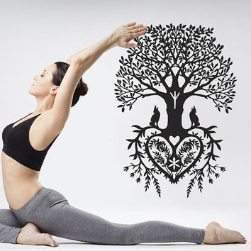 Tree of Life Wall Decal, Tree of Life Wall Sticker, Celtic Inspired Tree of Life Wall Decor Art, Tree Heart Decal Wall Art Yoga Room se024
