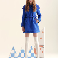 Long-Sleeve Detachable Cape Collared Coat With Belt