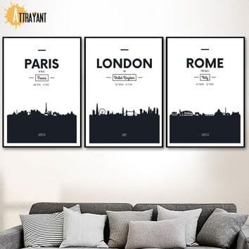 London Paris Dubai Rome Nordic Poster And Prints Wall Art Canvas Painting Black White Wall Picture For Living Room Bedroom Decor