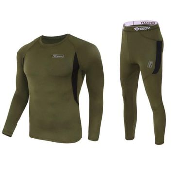 Outdoor Long-sleeve Warm Fleece T Shirt +Pants Me Hunting Trekking Traveling Breathable Suits Tactical Training Sports Clothing