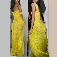 Sexy Women Ladies Elegant Yellow Dress  Harness dress Summer Boho Casual Long Maxi Party Dress Y8664