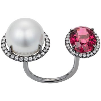 Nadine Aysoy 18 Karat Gold Rubellite and South Sea Pearl Diamond Cocktail Ring