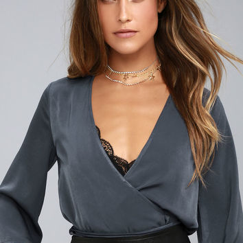 Sail the Riviera Navy Blue Wrap Top