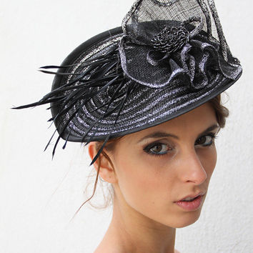 Silver Kentucky derby facinator hat, Black and Silver Royal ascot hat,Haute Couture, Spring Wedding fascinator hat with feathers