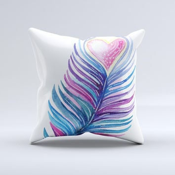 The Watercolor Heart Feather ink-Fuzed Decorative Throw Pillow