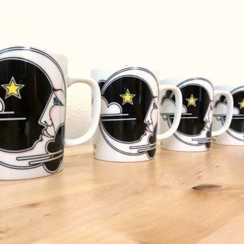 Vintage Moon Mugs / Fitz and Floyd Mug / Moon and Stars / Variations Coffee Cups / Small Ceramic Mugs / Art Deco Print / Moon Man