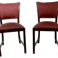 1950s Brown Lacquered Side Chairs, Pair