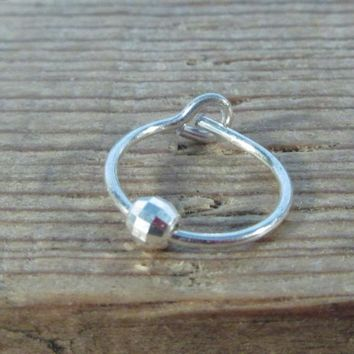 Little Hoop Earring Silver with Silver Mirror Cut Bead Single