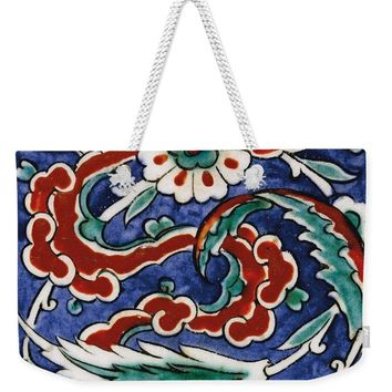 An Ottoman Iznik Style Floral Design Pottery Polychrome, By Adam Asar, No 24 - Weekender Tote Bag