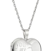 "Sterling Silver Heart ""You Are My Sunshine"" Locket Necklace, 18"""