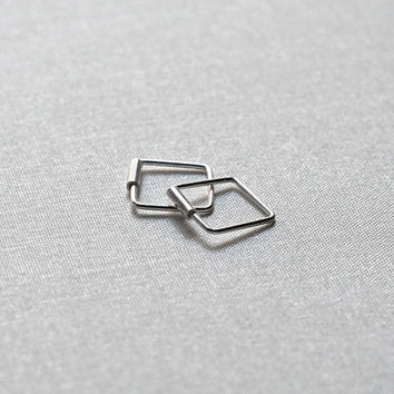 Teeny Tiny Square Hoop Earrings - Sterling Silver Huggie Hoops 8mm - Gift for Her - Simple Minimalist Everyday Jewelry LITTIONARY