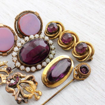 Antique Victorian & Edwardian Jewelry Repair Lot - 8 Early 1900s Gold Filled, Gold Washed Broken Findings / Old Amethyst Purple Destash