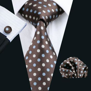 LS-911 2016 Fashion Mens Brown Polka Dots 100% Silk Barry.Wang Tie Hanky Cufflink Set For Men Formal Wedding Party Free Shipping