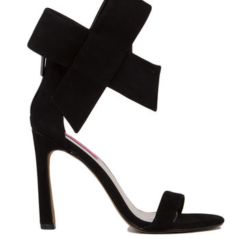 Betsey Johnson Friskyy Ankle Bow Black Heels