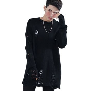 High Street Mens Sweater Fashion Hip Hop Punk Style Long Sleeve Hole Pullover Sweater Male Knitting Clothes