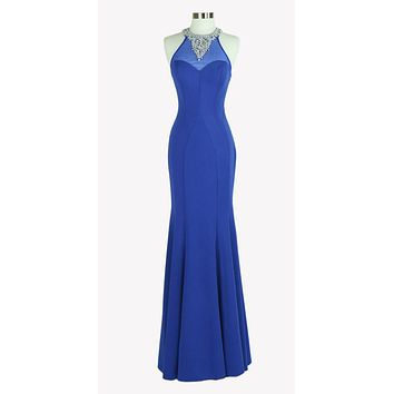 Royal Blue Long Prom Dress Beaded Neckline and Back