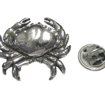 Silver Toned Detailed Crab Lapel Pin
