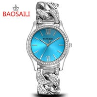 BAOSAILI Top Brand Women Diamond Watches Stainless Steel Ladies Chain Wrist Watch Fashion Luxury Bracelet Watch relogio BS002