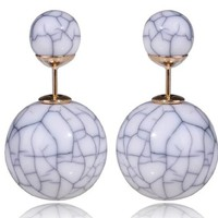 Chic Urban Double Sided Front Back Cracked White Stud Gold Earrings Peek a Boo Womens Jewelry