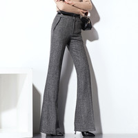 Grey Woolen Wide Leg Pants