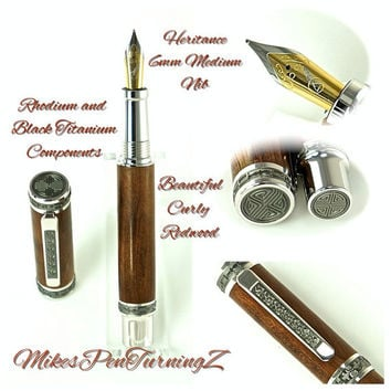Custom Wooden Pen Beautiful Curly Redwood Custom Fountain Pen with Emperor Rhodium and Black Titanium 799FPXLC