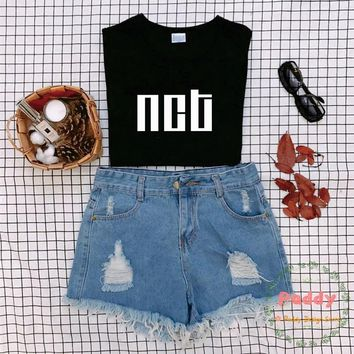 KPOP style tumblr fashion unisex women top NCT t shirt black high street korean style clothes graphic tee O-neck hot sale cool