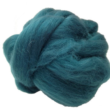 Merino Wool top fibre, dyed Teal roving, 100g, Needle felting, wet felting, spinning 25.5 microns, Dark teal