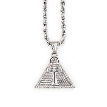 Men's Silver Necklace with Ankh Pyramid Pendant