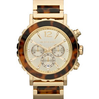 Michael Kors Oversize Tortoise/Golden Stainless Steel Lillie Chronograph Watch