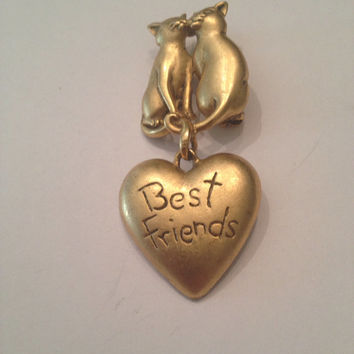Vintage Cat Best Friends Brooch Gold 1980s Costume Jewely