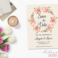 Pink Flowers Wedding Save the Date Invite Printable Wedding Boho Digital Peonies Date Invitation Rustic Peony Bridal Wedding Invite - WS023