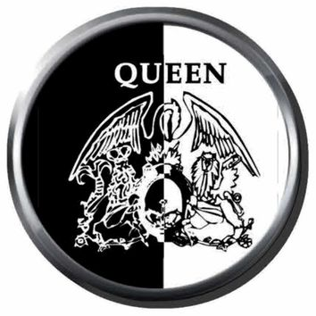 Freddie Mercury Artist Creates Queen Crest Logo On Black And White Band Members Rock And Roll Hall Of Fame Musicians 18MM - 20MM Fashion Snap Jewelry Snap Charm