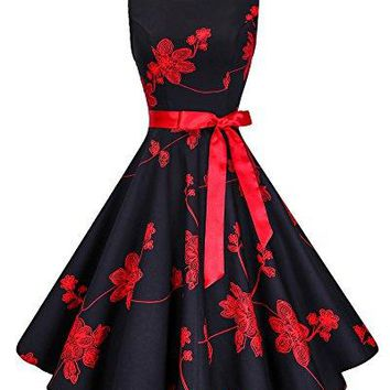 Anni Coco Retro Swing Hepburn Style Cocktail Dresses 50s With Ribbon - Floral Black F13 Large