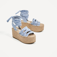 TIED JUTE PLATFORM WEDGES