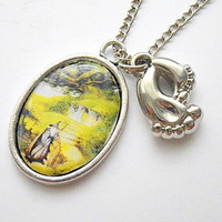 Gandalf visits Bilbo Baggins at Hobbitton Shire w/ hobbit feet charm fan art photo resin pendant necklace