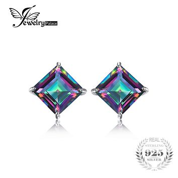 Square 6ct Natural Mystic Rainbow Topaz Earrings Stud For Girl Genuine Real Solid 925 Sterling Silver 2016 Gem Stone Jewelry NEW