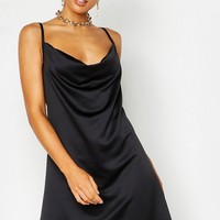 Satin Cowl Neck Mini Dress | Boohoo